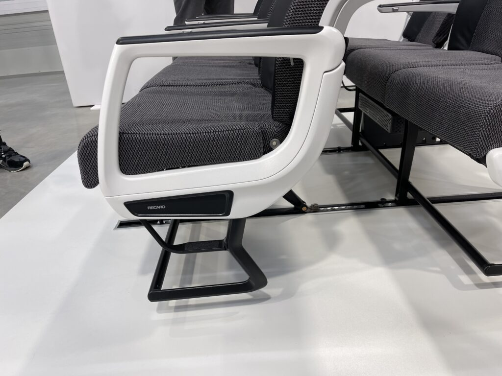 Close up of the lower half of the CL3810. The lower foot guard is sculpted to allow feet to more easily pass around it