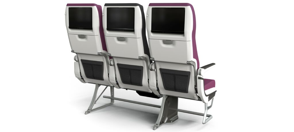 A rendering of Qatar Airways' CL3810, from the back. This seat triple showcases the seatback IFE and the literature pockets