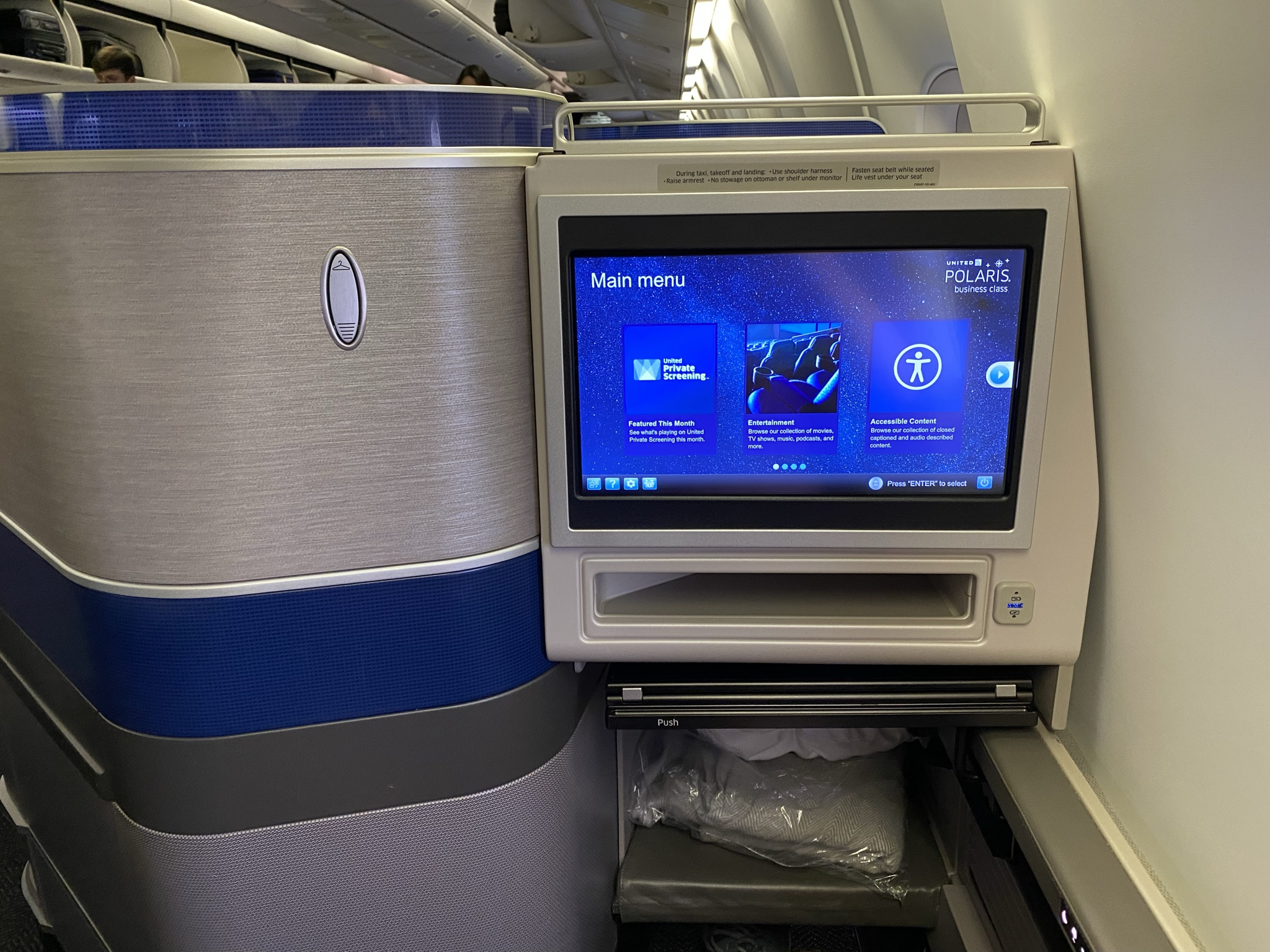 In-seat IFE on Polaris, with a large clear screen