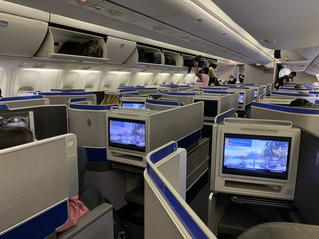 Rows and rows of United Airlines' 767-300ER Polaris Business Class seats