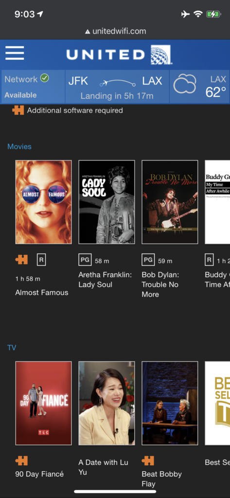Screen shot of the movie selection on United Airlines' IFE on the 767-300ER from JFK.