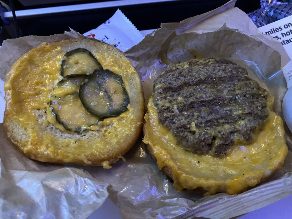 United Airlines' buy-on-board beef butter cheddar burger