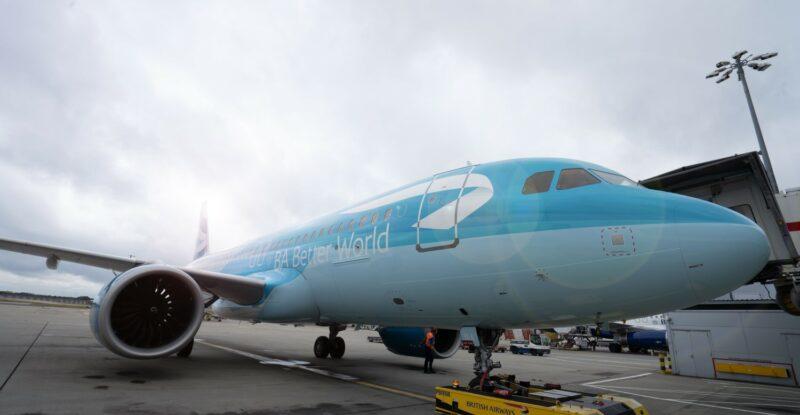 BA Better World A320neo aircraft at Heathrow with Mototok tug