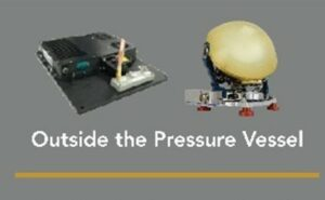 """Text saying """"Outside the pressure vessel"""" and two pieces of technology above."""