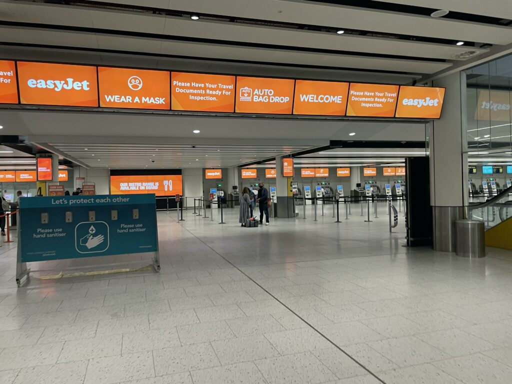 easyJet check-in counters at London Gatwick Airport