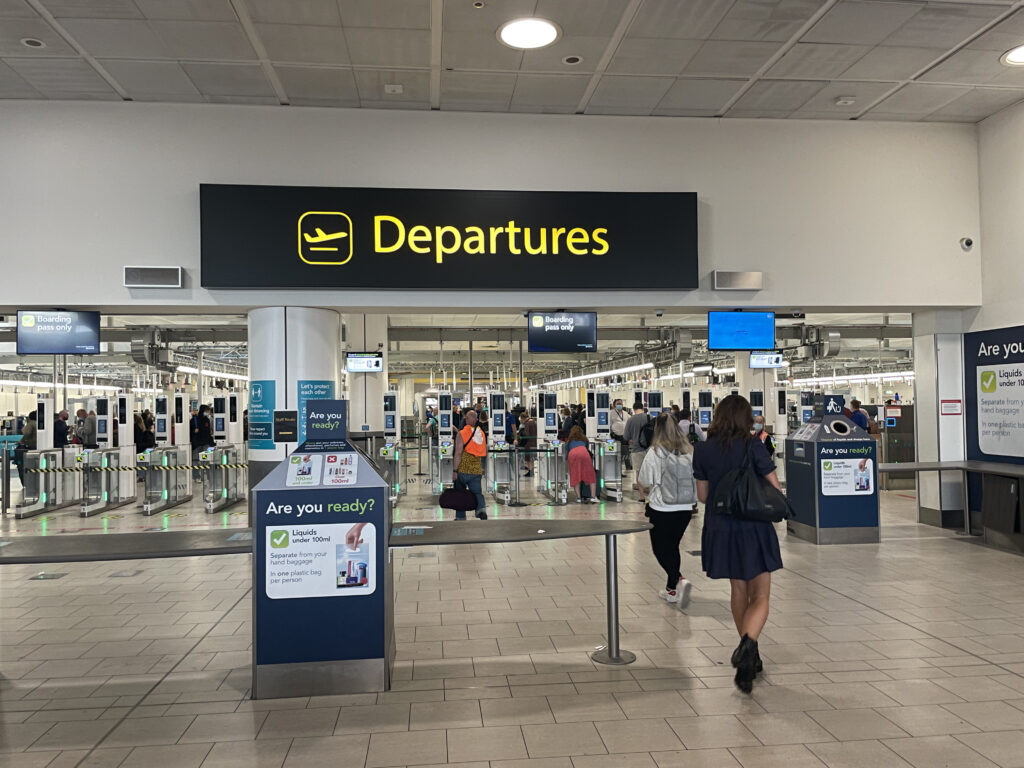 Departures and security area at London Gatwick Airport.