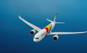 AIR BELGIUM A330neo inflight in a clear blue sky.