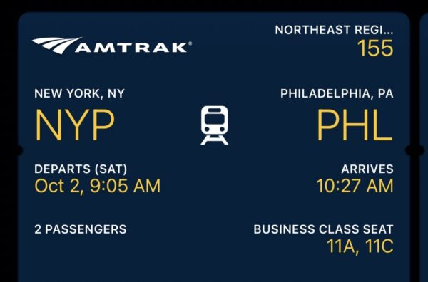 A screenshot. of the eticket for the author's Amtrak trip