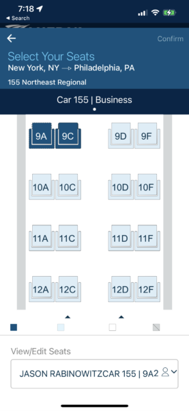 The seat map for Amtrak Business Class, with seat numbers listed