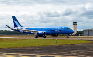 The first Breeze A220-300 in the carrier's signature blue livery