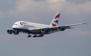 British Airways A380 on final approach into London Heathrow