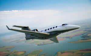 Embraer Phenom 300E in flight.