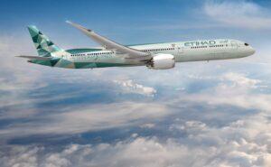 Greenliner Etihad Airways 787 in flight