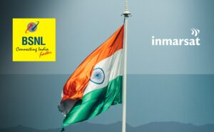 India flag on with the Inmarsat Logo beside it.