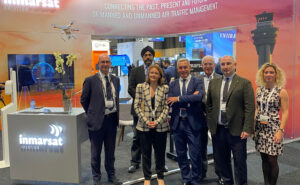 The Inmarsat, ESSP and ESA teams announce their new agreement at World ATM Congress 2021 in Madrid.