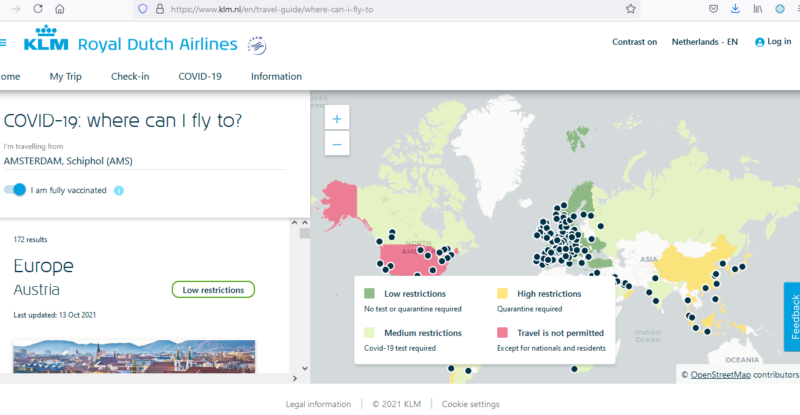 KLM Screenshot of map showing areas that are considered open for travel and areas that are not open for travel.