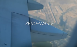 LATAM aircraft in flight with the words zero-waste overlay