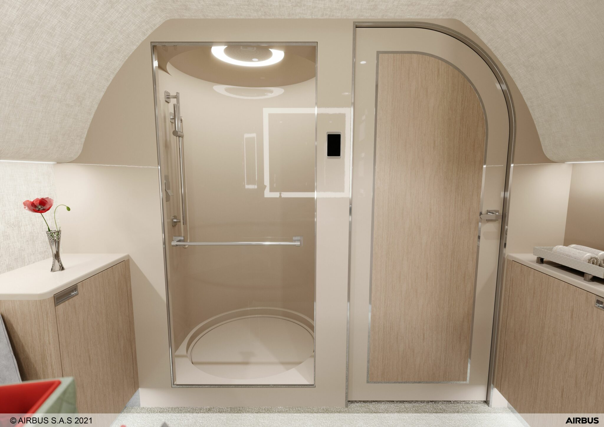 ACJTwoTwenty shower room with pale wood effect
