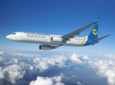 UIA Boeing 787-9 in flight over white clouds.