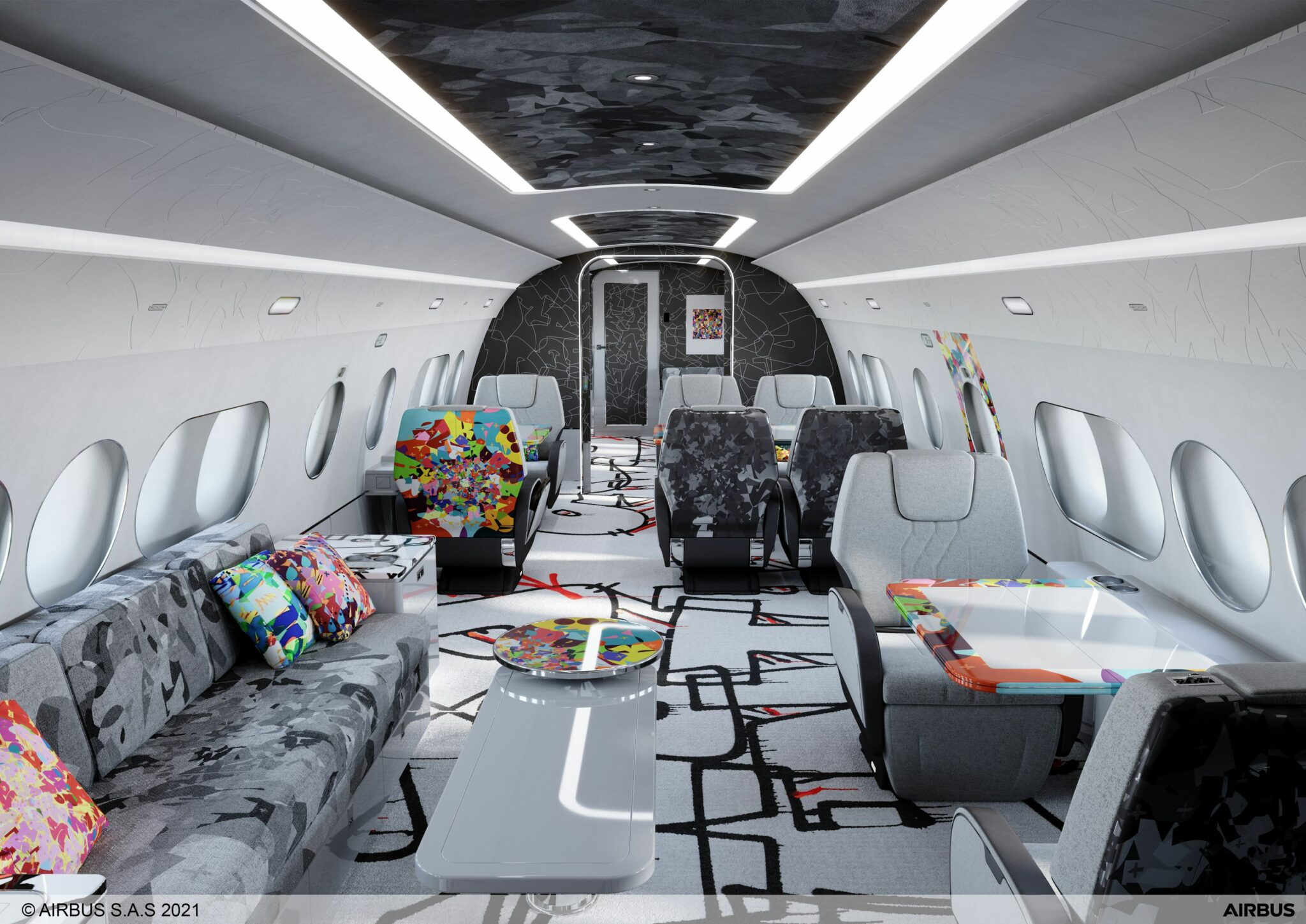 Inside the new Kongo-designed ACJ TwoTwenty aircraft with pops of colour on the carpet, sidewalls and furnishings