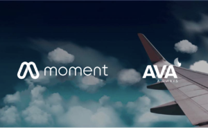 Moment and Ava Airlines logos with a aircraft wing tip and clouds.