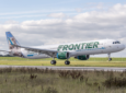 Frontier Airlines Airbus A320 aircraft taking off. Frontier has selected Skywise.